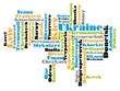 abstract word cloud based vector map of Ukraine