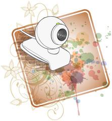 Web camera & floral calligraphy ornament