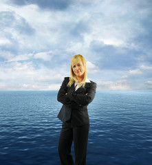 businesswoman and ocean