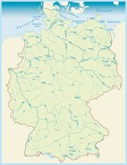 Gewässerkarte von Deutschland als Vektordatei