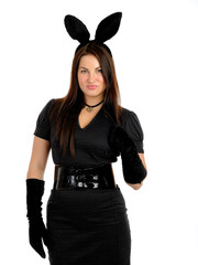 Pretty seductive brunette girl with bunny carnival ears