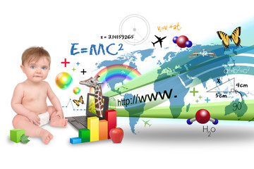 Young Baby Learning on Laptop Computer