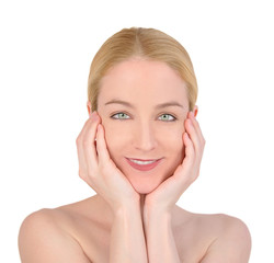 Beauty Woman Holding Face on White