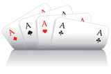 Fototapety Spielkarten herz, karo, pik, kreuz As