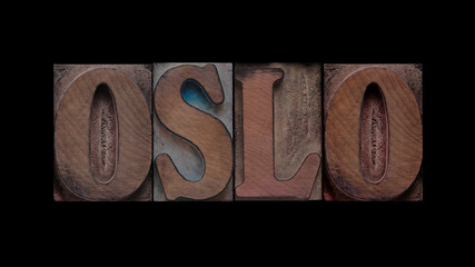 the word Oslo in old letterpress wood type