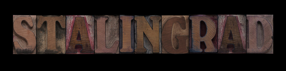 the word Stalingrad in old letterpress wood type