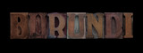 the word Burundi in old letterpress wood type