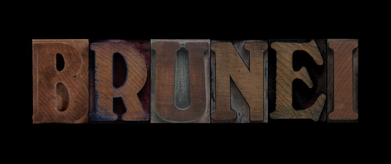the word Brunei in old letterpress wood type