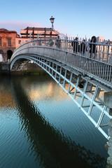 People going on  Bridge in Dublin, Ireland