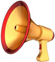 Megaphone announcement golden news. Modern loudspeaker