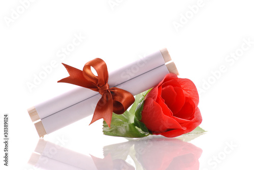 Messege Scroll on Imitation Red Rose