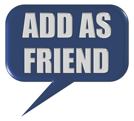 Sprechblase blau ADD AS FRIEND