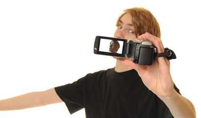 Man Video Recording Himself Talking