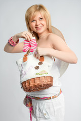 pregnant woman socks and bag