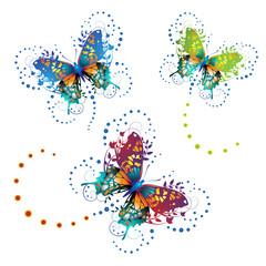 Stylized butterflies with twigs curls isolated on white
