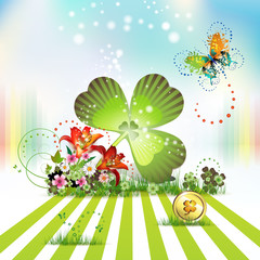 St. Patrick's Day card design with flowers and clover
