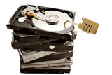 pile of HDD with one on top with open padlock showing unprotecte poster