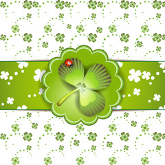 St. Patrick's Day card design with clover and ladybug