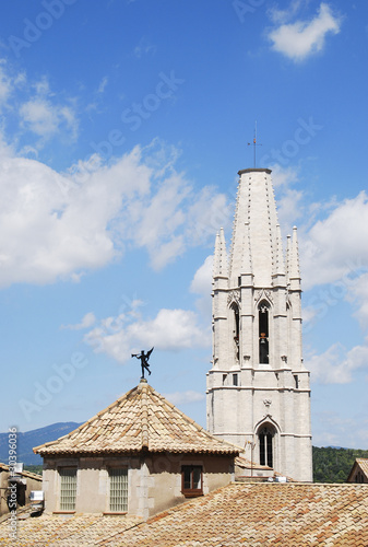 View of the roof and tower bell of the Girona Cathedral, Spain