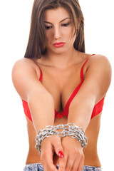 woman with chain bound hands