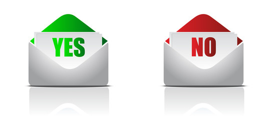 yes and no envelope letters isolated over a white background