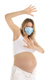 pregnant woman in a protective mask