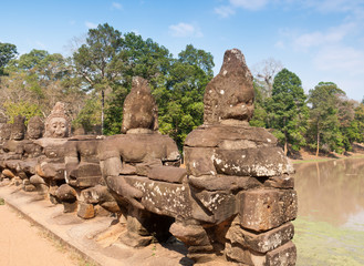 Statue at the entrance of Angkor Thom, Cambodia