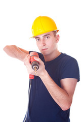 men worker with a drill