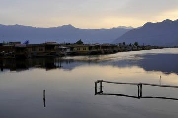 Empty dock on the Dal Lake in Srinagar