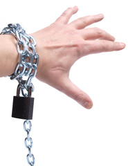 Hand and metal chain