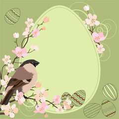 Light green easter greeting card with bird and eggs
