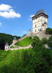 the exterior of czech castle named karlstejn
