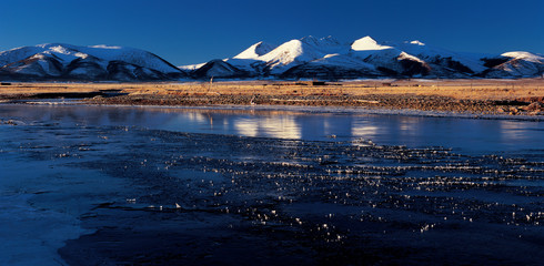 snow mount by the river,view in Tibet