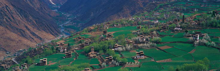 village in valley, view in Tibet
