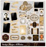 Ročník prvky Kolekce: fotorámečky, Vintage štítky ...