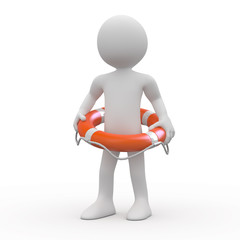 Man with an orange life preserver at the waist