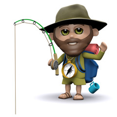 3d Hiker goes fishing