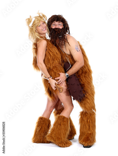 Cute Cave man with Club and cave woman