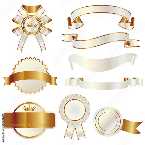 set of gold and white ribbon