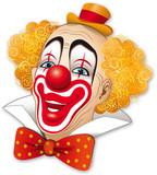 Clown con i capelli rossi su fondo bianco