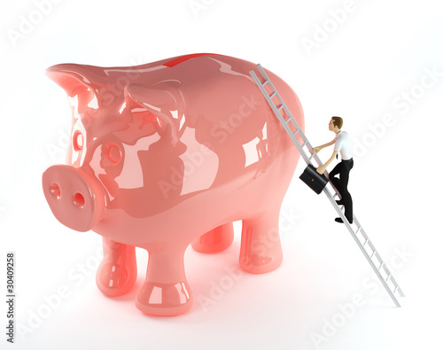3d Businessman climbing onto a piggy bank