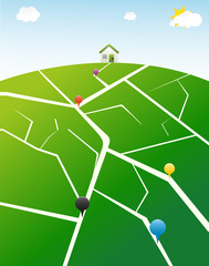 Illustrated gps map with pins