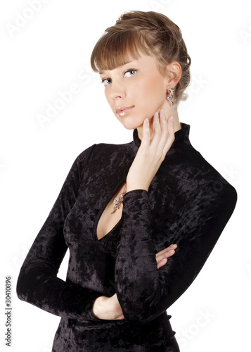 beautiful young sensuality woman in black dress