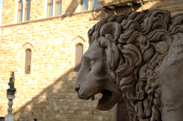 Statue of a lion at the Loggia dei Lanzi in Florence