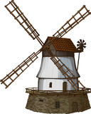windmill drawn in a woodcut like method poster
