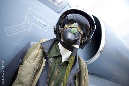Poster pilote aviation chasse armée guerre militaire équipement avion
