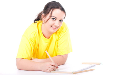 overweight, fat  woman writing on blank card