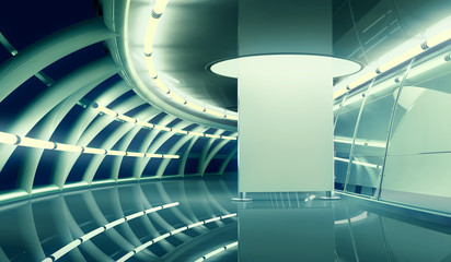 modern interior with empty billboard