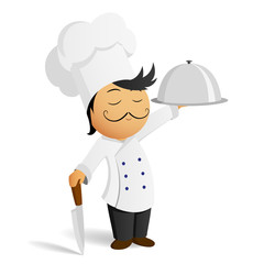 Cartoon chef in white hat with knife and dish