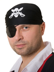 A man dressed as a pirate